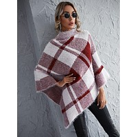 Argyle Pattern Funnel Neck Poncho