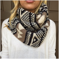 Black & Brown Thick Knit Infinity Scarf - Black & Brown Thick Knit Infinity Scarf