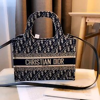 Dior embroidered D letter women shopping bag tote shoulder bag