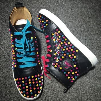 Christian Louboutin CL Louis Spikes Style #1847 Sneakers Fashion Shoes Online