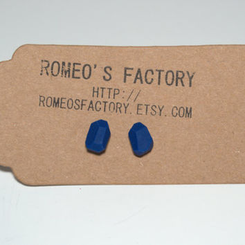 Geometric royal blue clay bead earrings