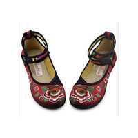 Vintage Embroidered Flat Ballet Ballerina Cotton Chinese Fashion Shoes for Women in Vibrant Red Floral Design