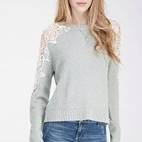 Lace Long-Sleeve Knitted Pullover Shirt