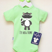 Fun Baby Announcement. Pregnancy Reveal Baby Bodysuit. I'm New Here Cute Baby Clothes. Animal Baby Clothes.  Choose Your Color