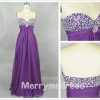 Beads Purple Sweetheart Strapless Empired Long Celebrity Dress,Floor lengrth Chiffon Formal Evening Party Prom Dress New Homecoming Dress