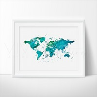 World Map, Green Watercolor Art Print