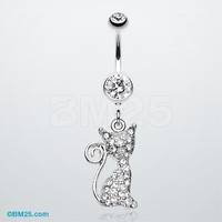 Glistening Kitty Cat Belly Button Ring