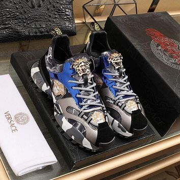 VERSACE Men Fashion Boots fashionable Casual leather Breathable Sneakers Running Shoes01GH
