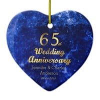 65th Sapphire Wedding Anniversary Gold Typography Ceramic Ornament