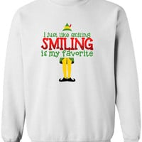 I Just Like Smiling Smiling is my Favorite Sweater Elf T-shirt Christmas Party shirt sweatshirt sweater fleece Funny movie DT-648