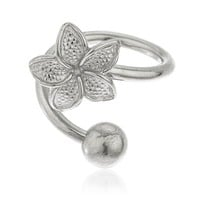 Real 10k White Gold Flower Spiral Belly Button Ring