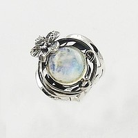 Moonstone Hibiscus FLower Sterling Silver Ring