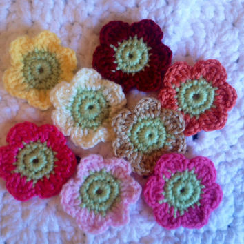 Hand Crochet Flower Appliques Embellishments Set of 8-Cream Taupe Key Lime Pie Orange Red Hot Bubblegum and Cotton Candy Pink