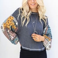 By The Ocean Charcoal Gray Top with Gypsy Sleeves