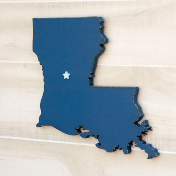 Louisiana state shape sign wood cutout sign wall art with heart or star. 35 Colors. Wedding Guestbook Anniversary Country Cottage Chic Decor