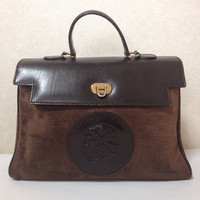 Vintage FENDI brown suede epi leather handbag in classic Kelly bag style with logo motif at front.