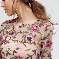 Frock and Frill Mini Prom Dress in Floral Embroidery at asos.com
