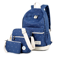 CanvasTravel Bag 3 Pieces Laptop Bookbag Backpack Daypack