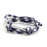 Silver Anchor on Navy and White Rope