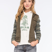 Others Follow Twill Sweater Womens Jacket Olive  In Sizes