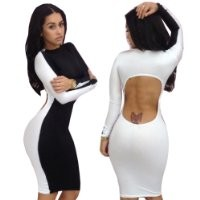 iecool Sexy Dress White Long Clubwear Night Party Bandage Bodycon Dresses Small