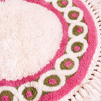 Vintage Pink Shag Rug, Regal Rugs Inc Small Round Carpet with Fringe, 1970s Bombay Pattern Mid Century Modern Design, 30 Inch