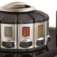 Auto-Measure Automatic Spice Dispenser Organizer Carousel without Spices, Satin