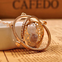 Gold plated time turner necklace hourglass vintage pendant Hermione Granger for women lady girl