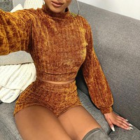 BKLD Velvet Two Piece Set Women Clothes Autumn Outfits Long Sleeve Crop Tops+Bodycon Shorts Sexy Matching Sets Women Tracksuit