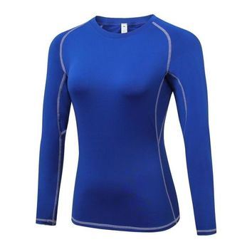 Female Fitness Sweater Workout Long Sleeve T-shirt Exercise Breathable Solid Tops Compression Shirt