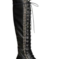BLACK FAUX LEATHER STUDDED OVER THE KNEE RIDING BOOTS