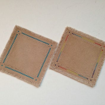 Geometric stylish cross stitch coaster set of two Handmade fabric coaster Tea dyed drink coasters  Reduce noise Protect table surface