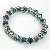 GREEN CRYSTAL GLASS CLEAR RHINESTONE ELASTIC BRACELET