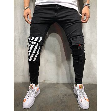 Men's Street Style Skinny Ripped Ankle Jeans 4325