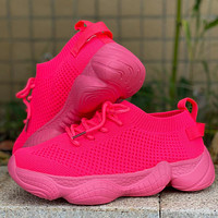 Pantshoes Comfy Breathable Mesh Trainers Chunky Heels Platform Sneakers Shoes Casual Shoes