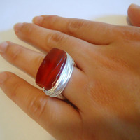 Red carnelian ring - size 7 ring - gemstone ring - wire wrapped - handmade - silver ring - chunky ring - cocktail ring - natural stone ring