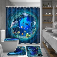 Polyester Dolphin Deep Sea Bathroom Curtain and Mat Set