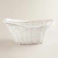 White Scooped Oval Willow Basket - World Market