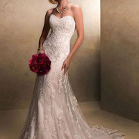 White/Ivory Applique Lace With Beading Wedding Dress