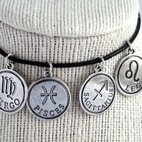 Silver Astrology Zodiac Sign Charm Adjustable Black Choker Necklace
