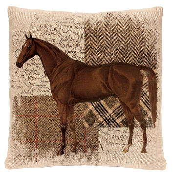 Downton Hunt Club 18x18 Throw Pillow, Horse