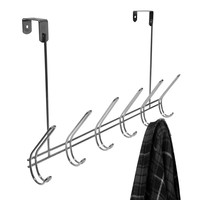 Evelots® Over The Door Metal Hook Rack, 6 Double Hooks, Space Saver Hanger,Silver
