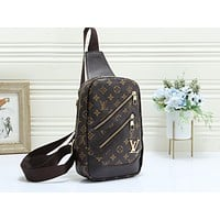 LV fashionable casual lady's Fanny pack hot seller with printed cross-breast bag Coffee LV print