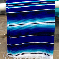 Mexican Serape Blanket BLUE and TORQUOISE Boho Style Glamping Handwoven Soft