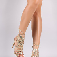 Gold or Silver Metallic Caged Back Lace-Up Stiletto Heel