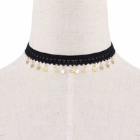 Crochet Lace Necklace with Stars Pendant