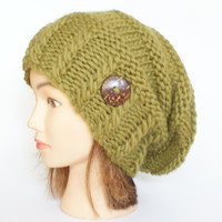 Slouchy beanie hat olive green slouch hat slouchy beanies slouch hats women knitted women irish hat st patricks day