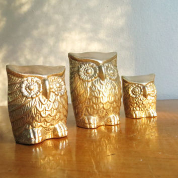 Vintage Brass Owl Figurines, Gold Owl Statues, Three Gold Owls, Brass Animal Family, Paperweights, Set