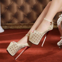 Milanblocks Utral High Club Pumps Crystal Sex Open Toe High Shoes