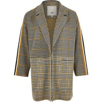 Girls black check tape side jacket